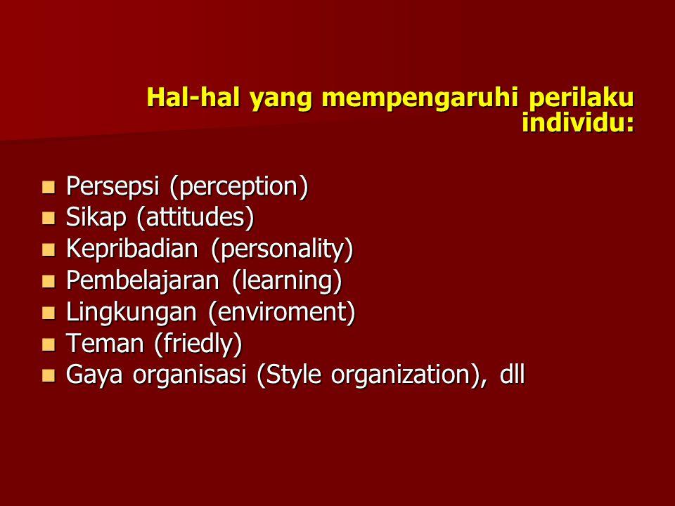Hal-hal yang mempengaruhi perilaku individu: