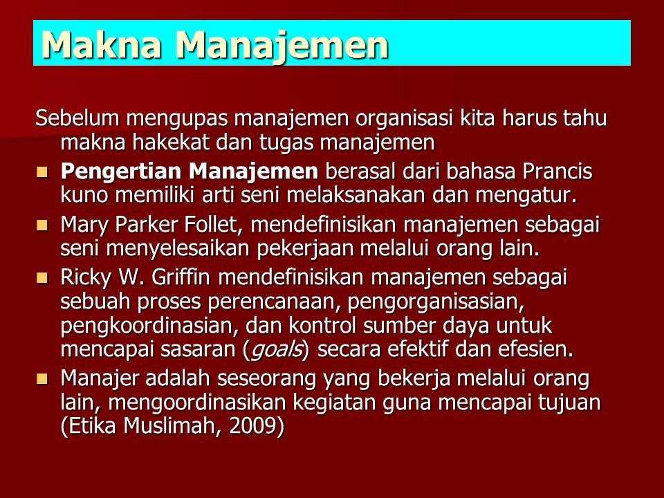 Makna Manajemen Sebelum mengupas manajemen organisasi kita harus tahu makna hakekat dan tugas manajemen.