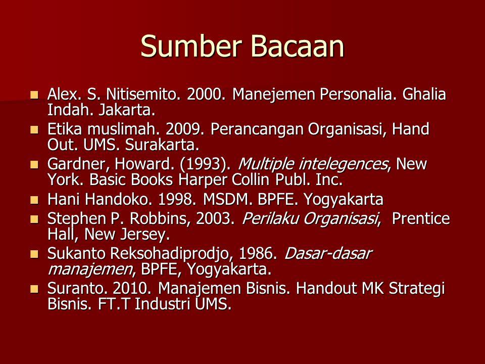 Sumber Bacaan Alex. S. Nitisemito. 2000. Manejemen Personalia. Ghalia Indah. Jakarta.