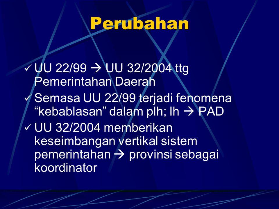 Perubahan UU 22/99  UU 32/2004 ttg Pemerintahan Daerah