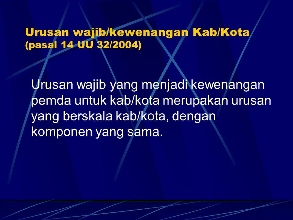 Urusan wajib/kewenangan Kab/Kota (pasal 14 UU 32/2004)