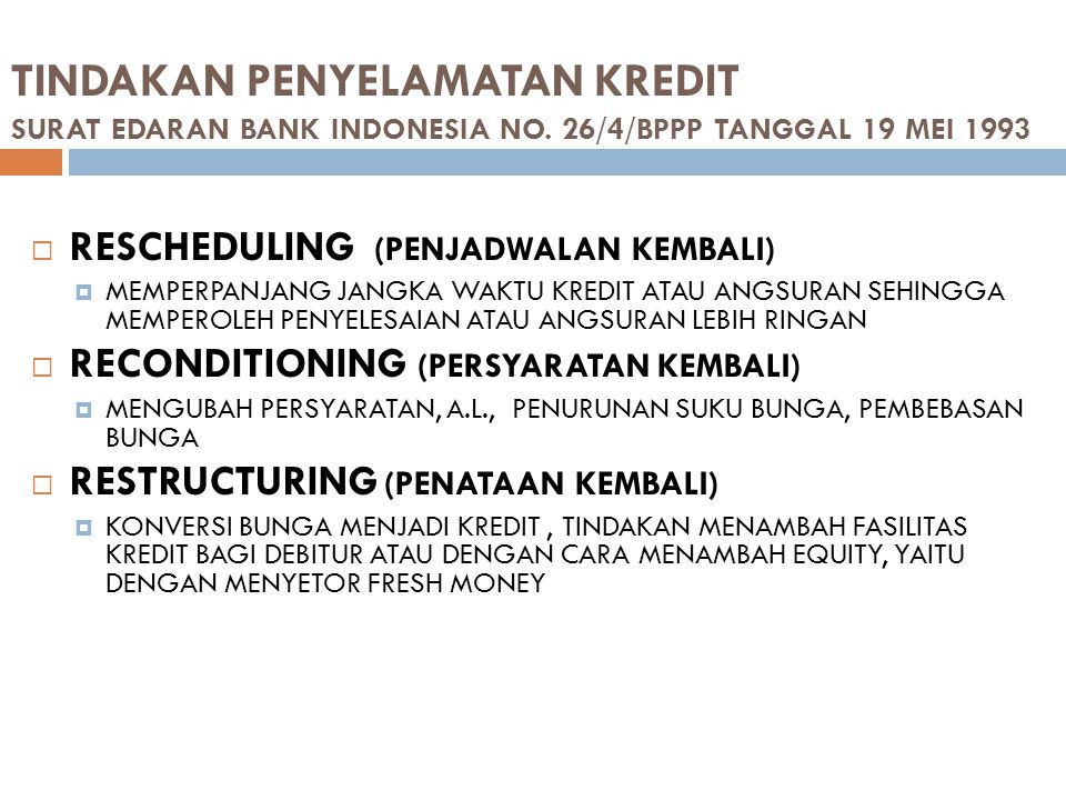 TINDAKAN PENYELAMATAN KREDIT SURAT EDARAN BANK INDONESIA NO