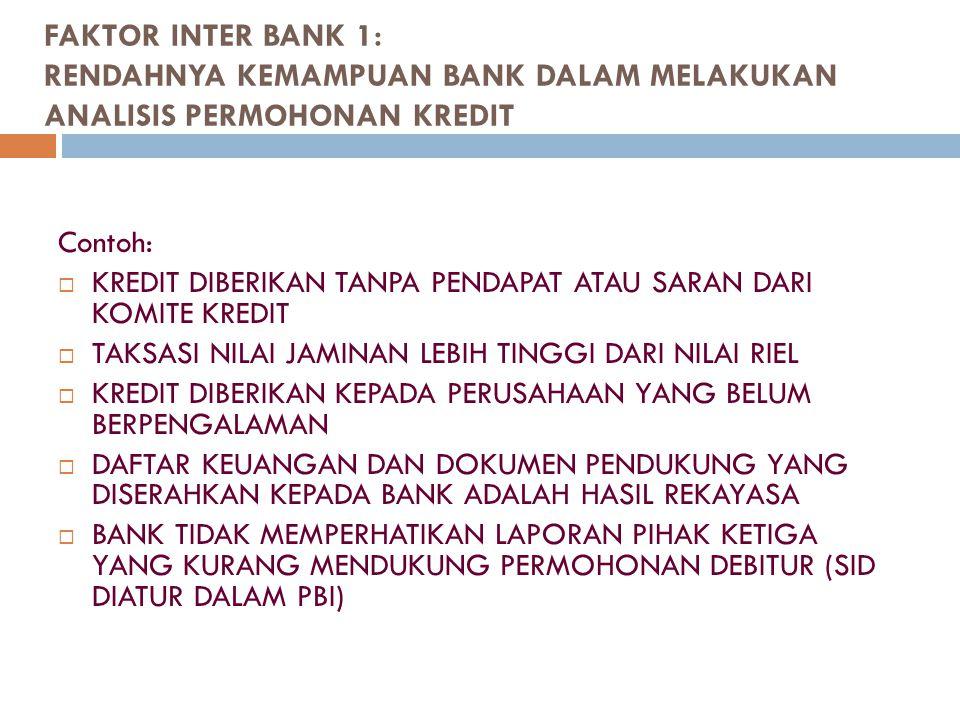 FAKTOR INTER BANK 1: RENDAHNYA KEMAMPUAN BANK DALAM MELAKUKAN ANALISIS PERMOHONAN KREDIT