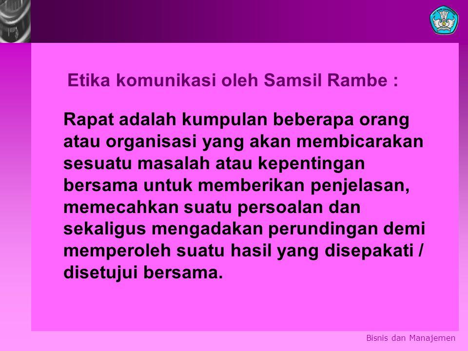 Etika komunikasi oleh Samsil Rambe :