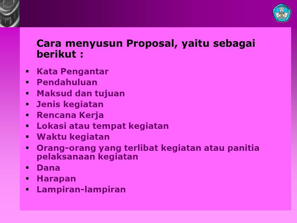 Cara menyusun Proposal, yaitu sebagai berikut :