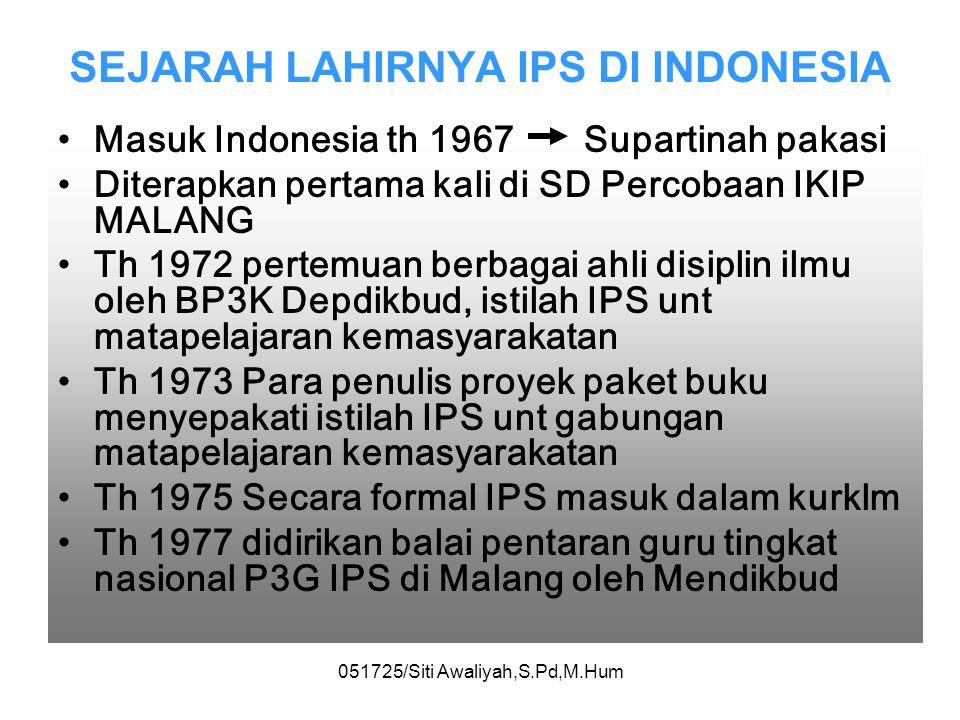 SEJARAH LAHIRNYA IPS DI INDONESIA