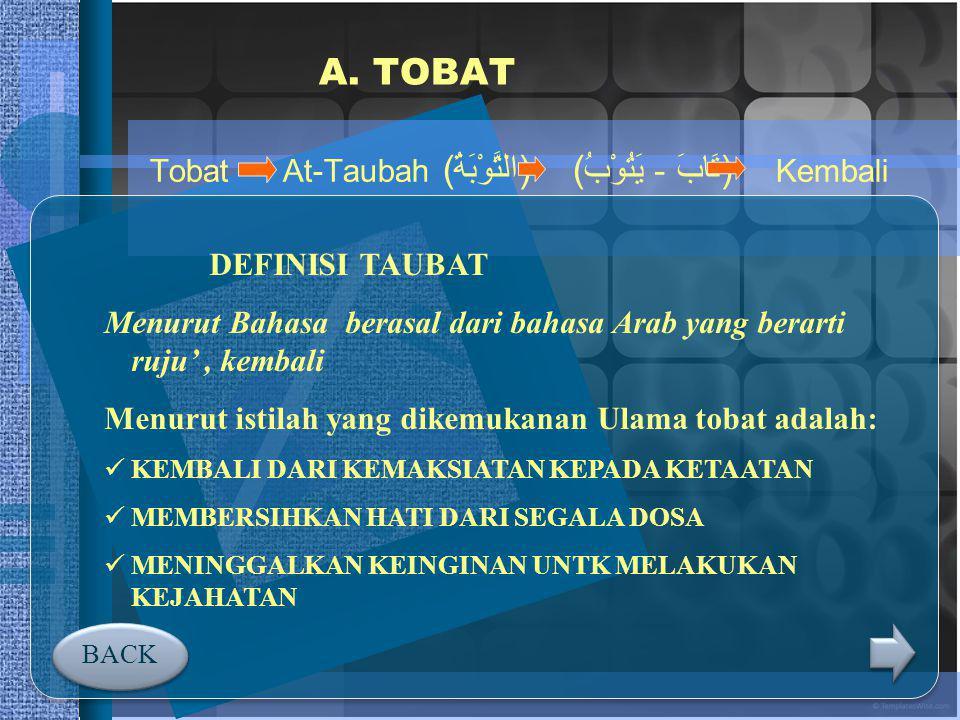 A. TOBAT Tobat At-Taubah (التَّوْبَةُ) (تَابَ - يَتُوْبُ) Kembali