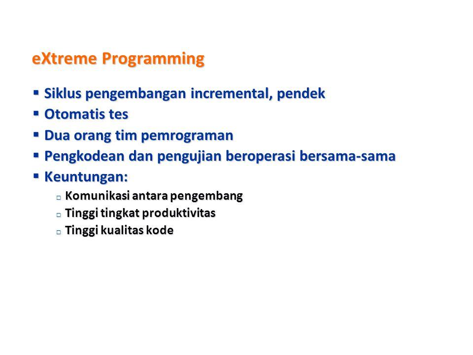 eXtreme Programming Siklus pengembangan incremental, pendek