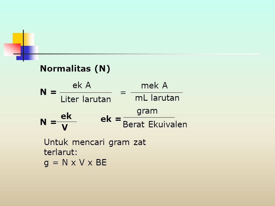 Normalitas (N) ek A. mek A. N = = Liter larutan. mL larutan. gram. ek. ek = N = Berat Ekuivalen.