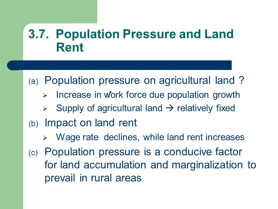 3.7. Population Pressure and Land Rent
