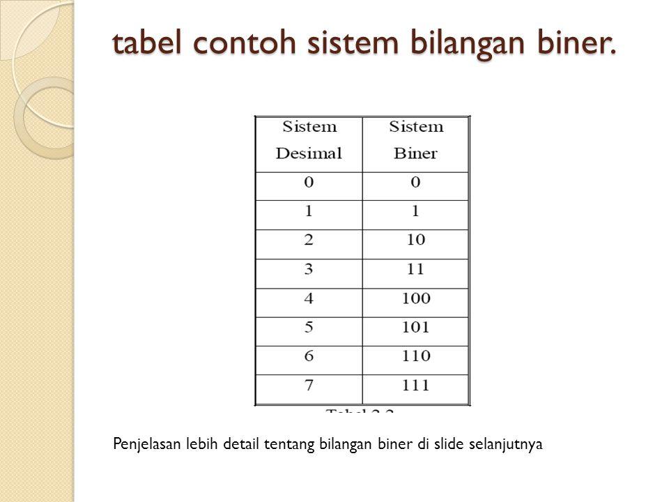 tabel contoh sistem bilangan biner.