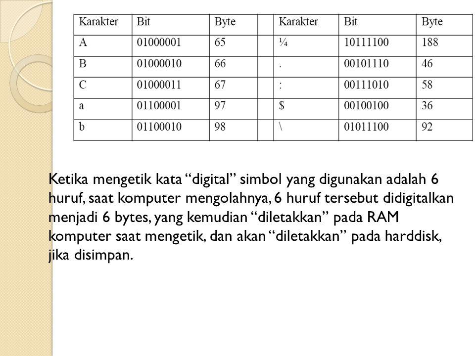 Ketika mengetik kata digital simbol yang digunakan adalah 6 huruf, saat komputer mengolahnya, 6 huruf tersebut didigitalkan menjadi 6 bytes, yang kemudian diletakkan pada RAM komputer saat mengetik, dan akan diletakkan pada harddisk, jika disimpan.