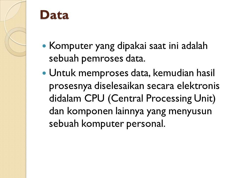 Data Komputer yang dipakai saat ini adalah sebuah pemroses data.