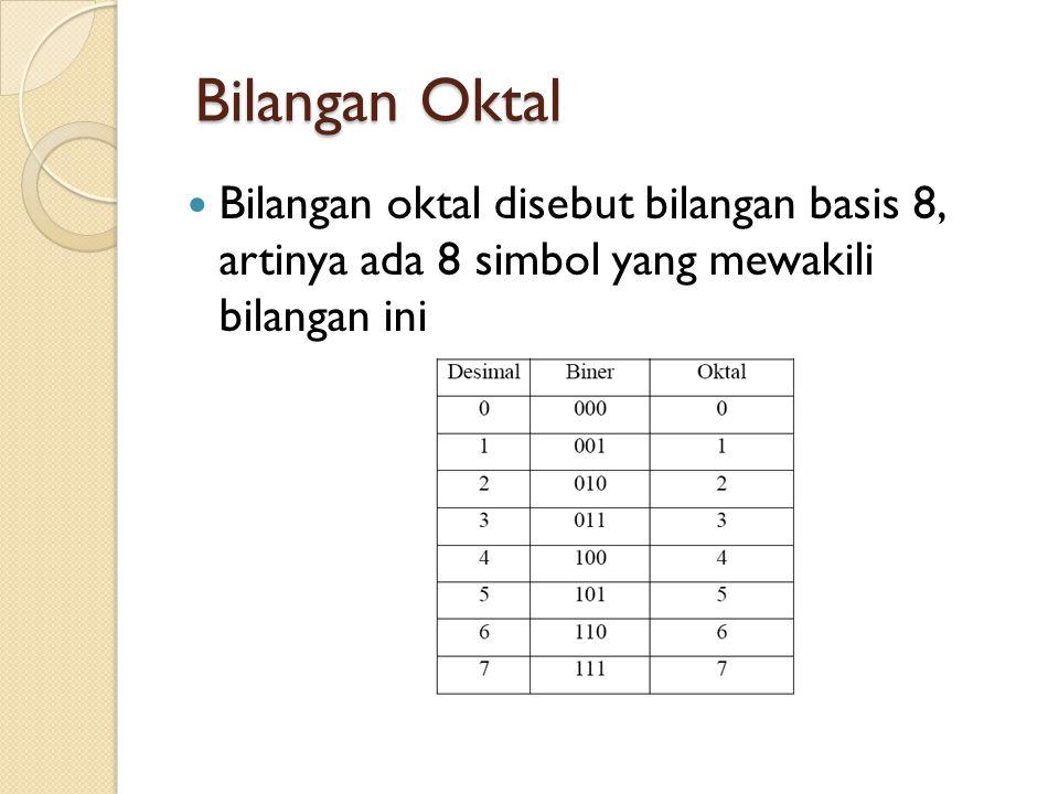 Bilangan Oktal Bilangan oktal disebut bilangan basis 8, artinya ada 8 simbol yang mewakili bilangan ini.