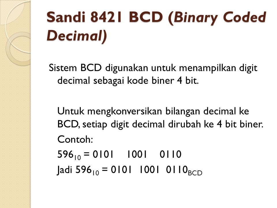 Sandi 8421 BCD (Binary Coded Decimal)