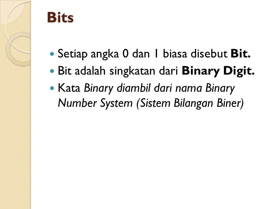Bits Setiap angka 0 dan 1 biasa disebut Bit.