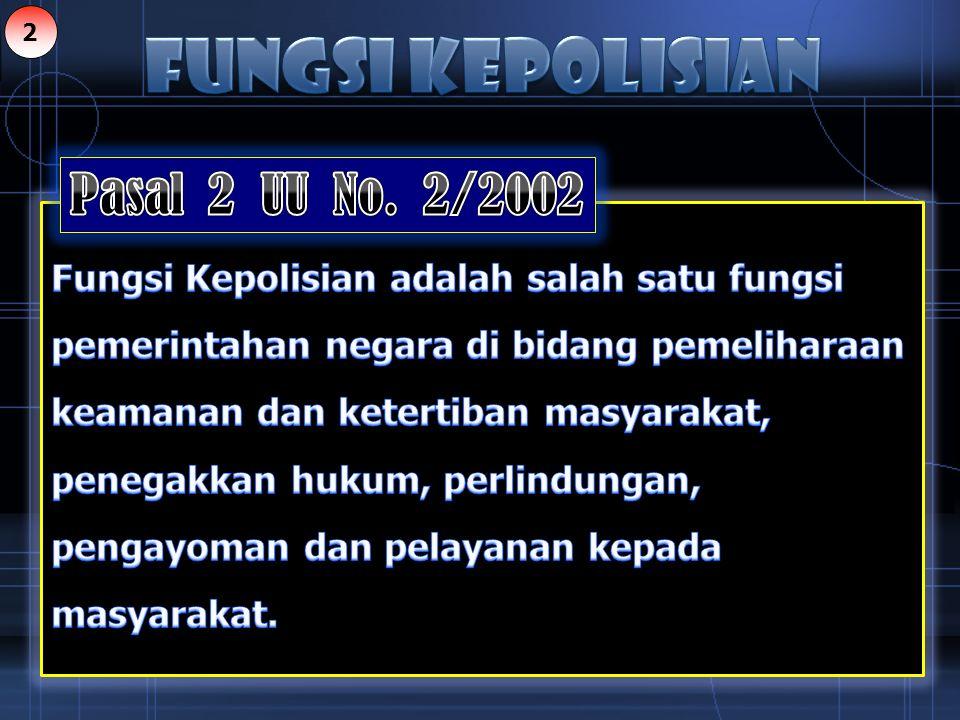 FUNGSI KEPOLISIAN Pasal 2 UU No. 2/2002