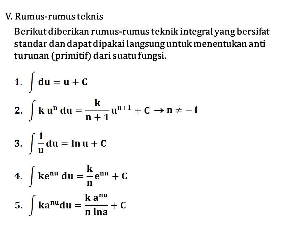 V. Rumus-rumus teknis Berikut diberikan rumus-rumus teknik integral yang bersifat. standar dan dapat dipakai langsung untuk menentukan anti.