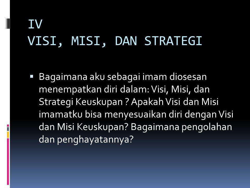 IV VISI, MISI, DAN STRATEGI