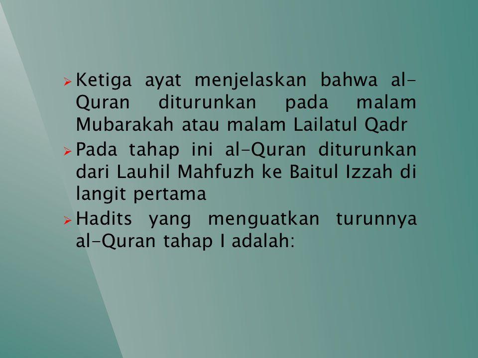 Ketiga ayat menjelaskan bahwa al- Quran diturunkan pada malam Mubarakah atau malam Lailatul Qadr