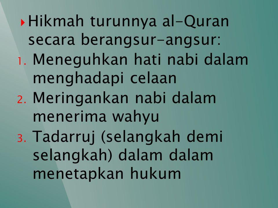 Hikmah turunnya al-Quran secara berangsur-angsur: