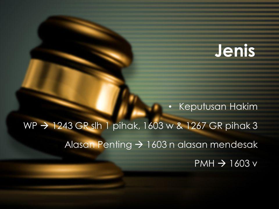 Jenis Keputusan Hakim. WP  1243 GR slh 1 pihak, 1603 w & 1267 GR pihak 3. Alasan Penting  1603 n alasan mendesak.