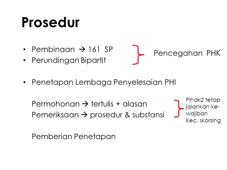 Prosedur Pembinaan  161 SP Perundingan Bipartit Pencegahan PHK