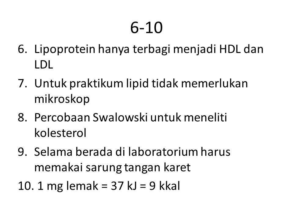 6-10 Lipoprotein hanya terbagi menjadi HDL dan LDL