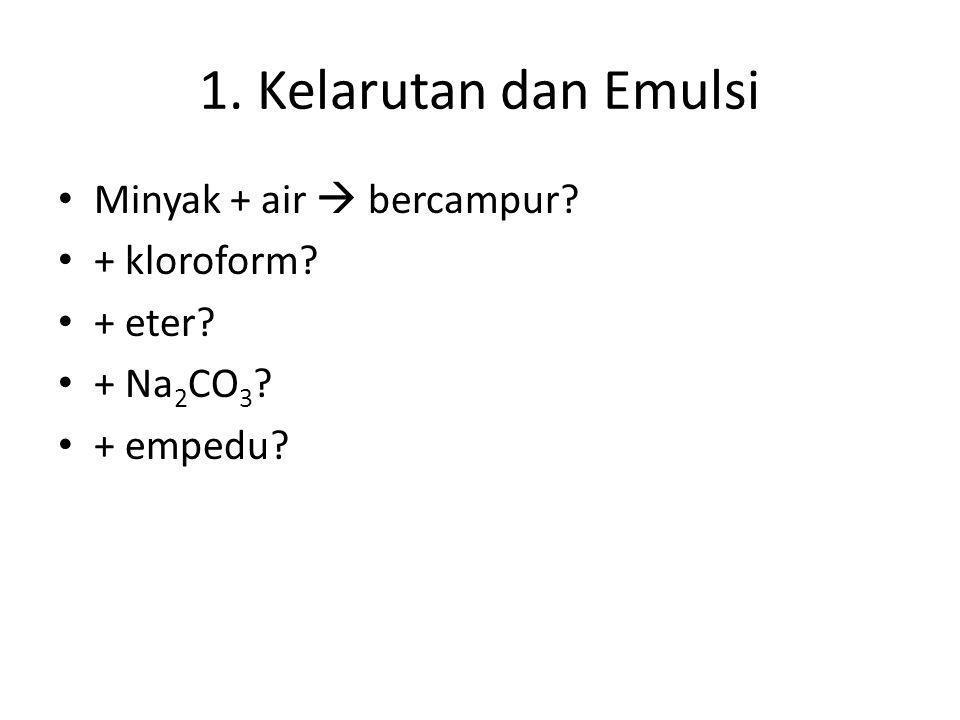 1. Kelarutan dan Emulsi Minyak + air  bercampur + kloroform + eter
