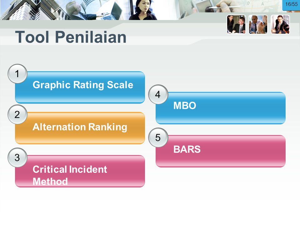 Tool Penilaian 1 Graphic Rating Scale 4 MBO 2 Alternation Ranking 5