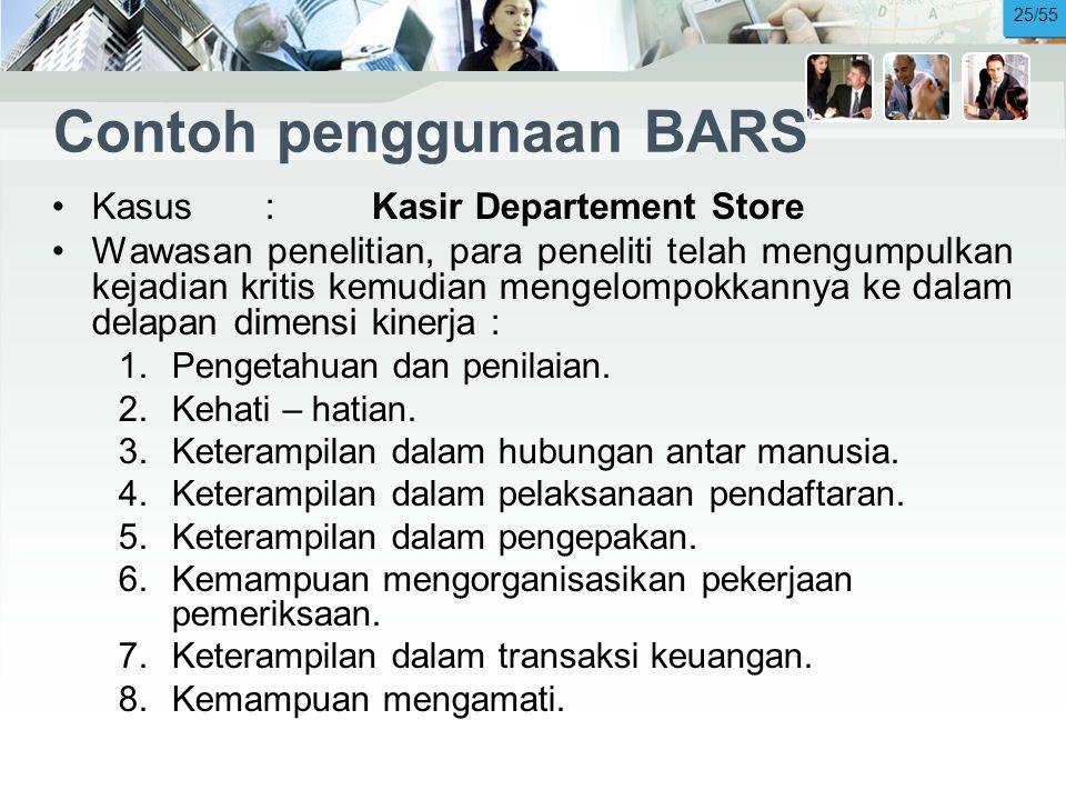 Contoh penggunaan BARS