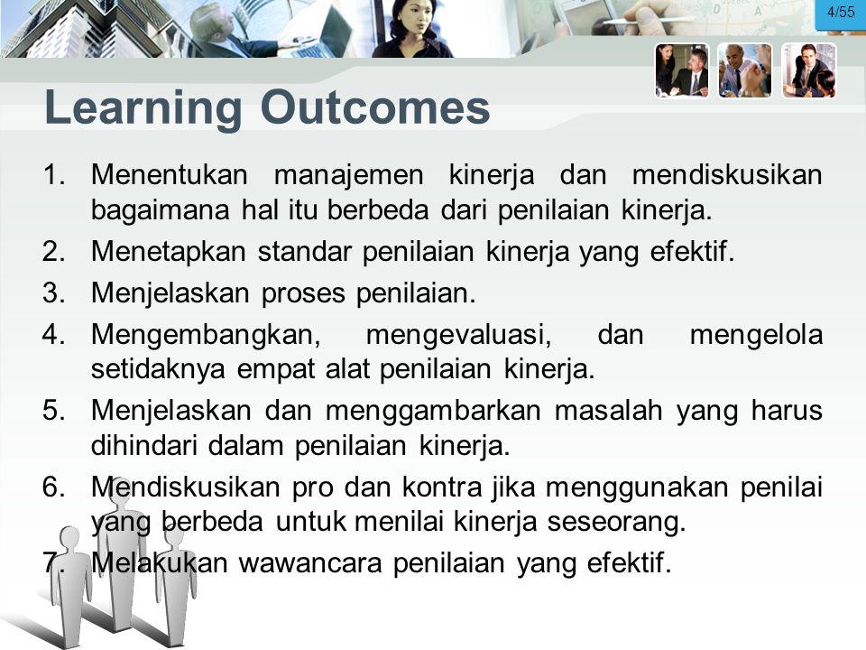 4/55 Learning Outcomes. Menentukan manajemen kinerja dan mendiskusikan bagaimana hal itu berbeda dari penilaian kinerja.