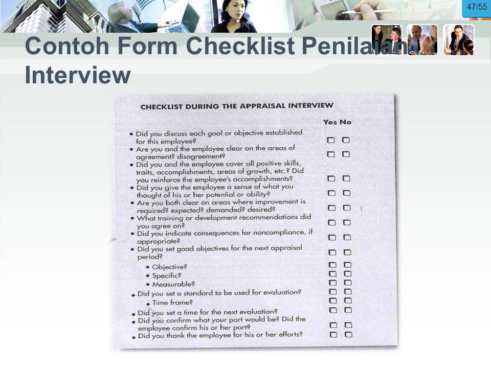Contoh Form Checklist Penilaian Interview