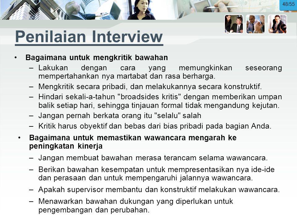 Penilaian Interview Bagaimana untuk mengkritik bawahan