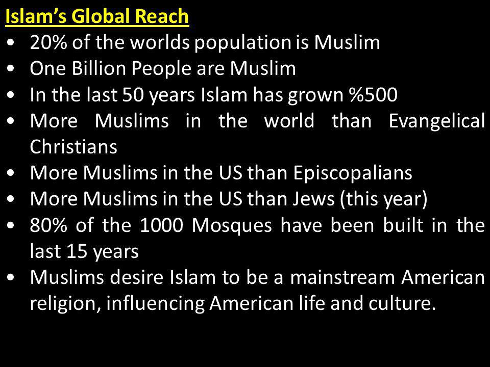 Islam's Global Reach 20% of the worlds population is Muslim. One Billion People are Muslim. In the last 50 years Islam has grown %500.