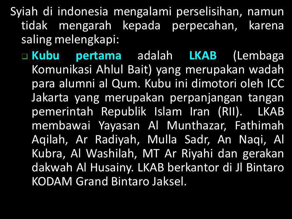 Syiah di indonesia mengalami perselisihan, namun tidak mengarah kepada perpecahan, karena saling melengkapi: