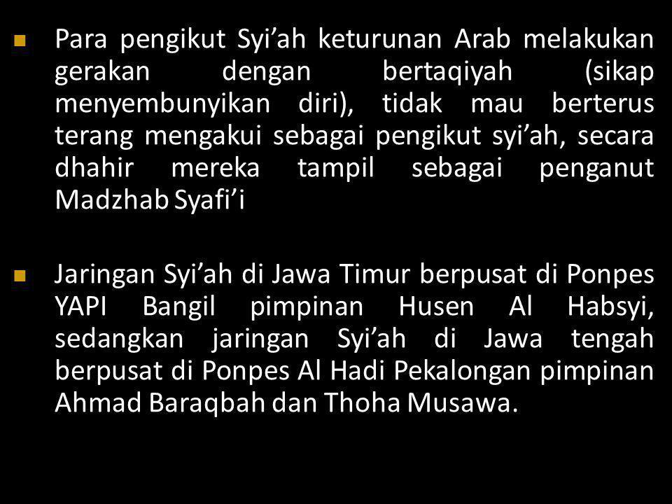 Para pengikut Syi'ah keturunan Arab melakukan gerakan dengan bertaqiyah (sikap menyembunyikan diri), tidak mau berterus terang mengakui sebagai pengikut syi'ah, secara dhahir mereka tampil sebagai penganut Madzhab Syafi'i