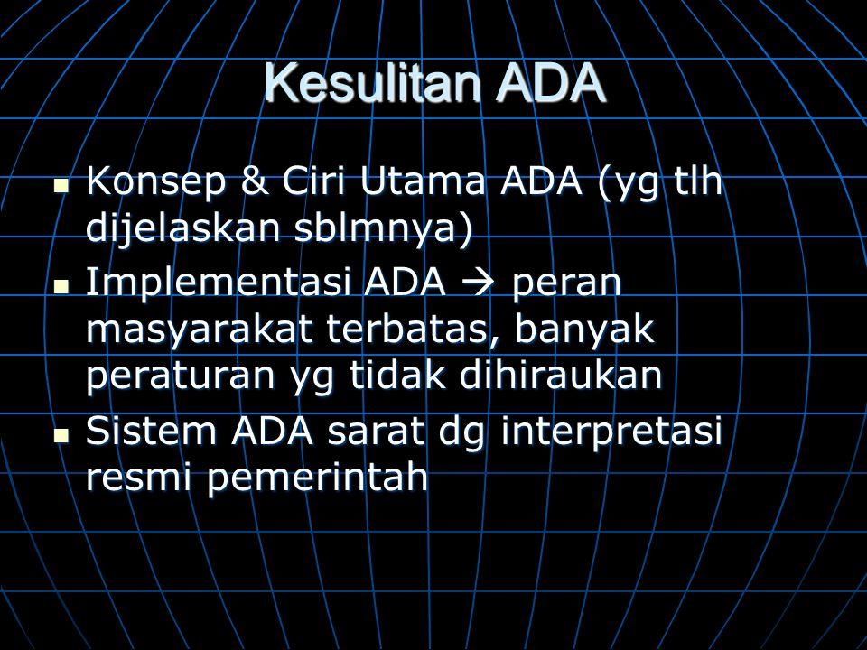 Kesulitan ADA Konsep & Ciri Utama ADA (yg tlh dijelaskan sblmnya)