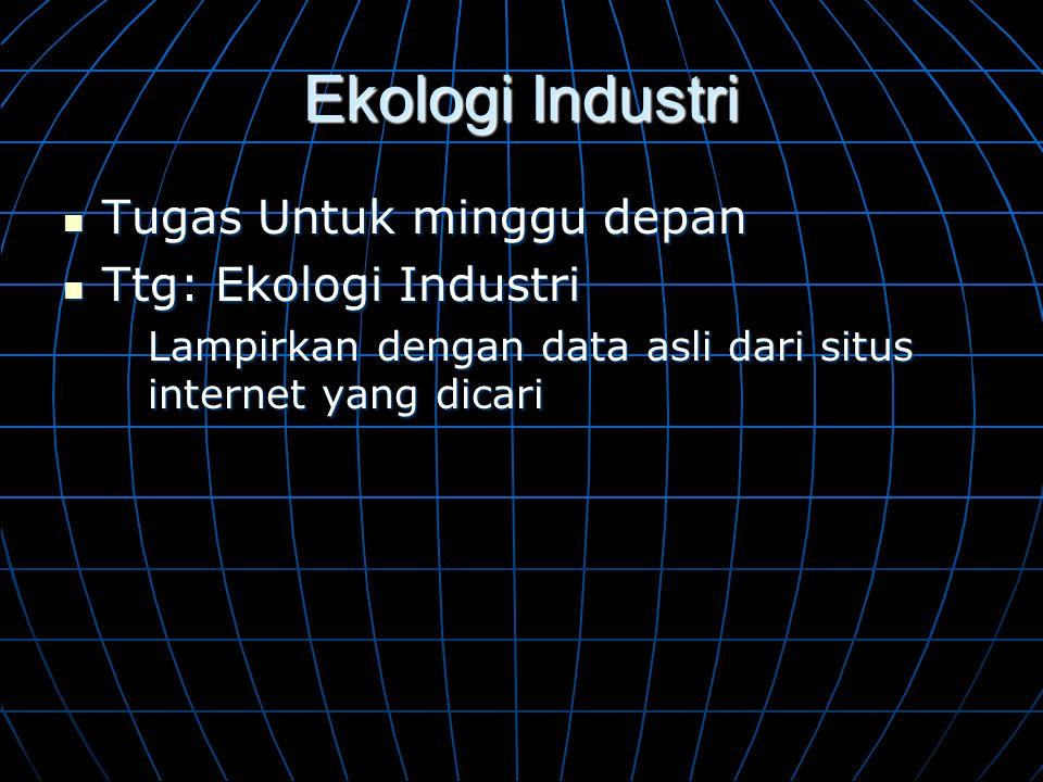 Ekologi Industri Tugas Untuk minggu depan Ttg: Ekologi Industri