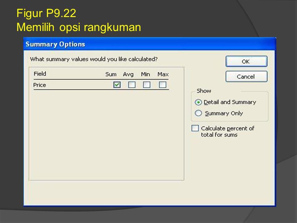 Figur P9.22 Memilih opsi rangkuman