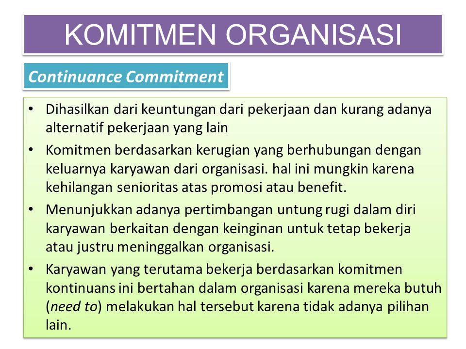 KOMITMEN ORGANISASI Continuance Commitment