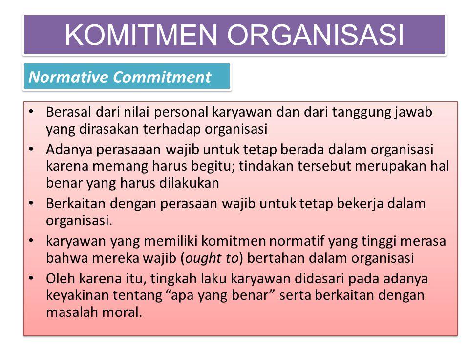 KOMITMEN ORGANISASI Normative Commitment