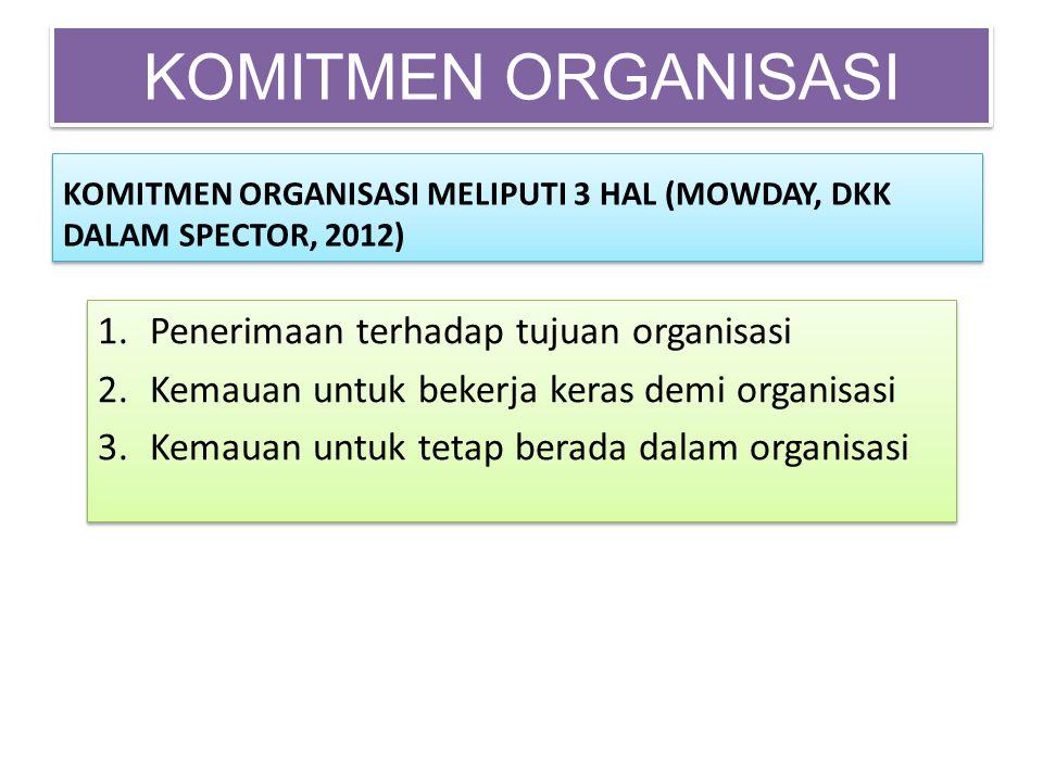 KOMITMEN ORGANISASI Penerimaan terhadap tujuan organisasi