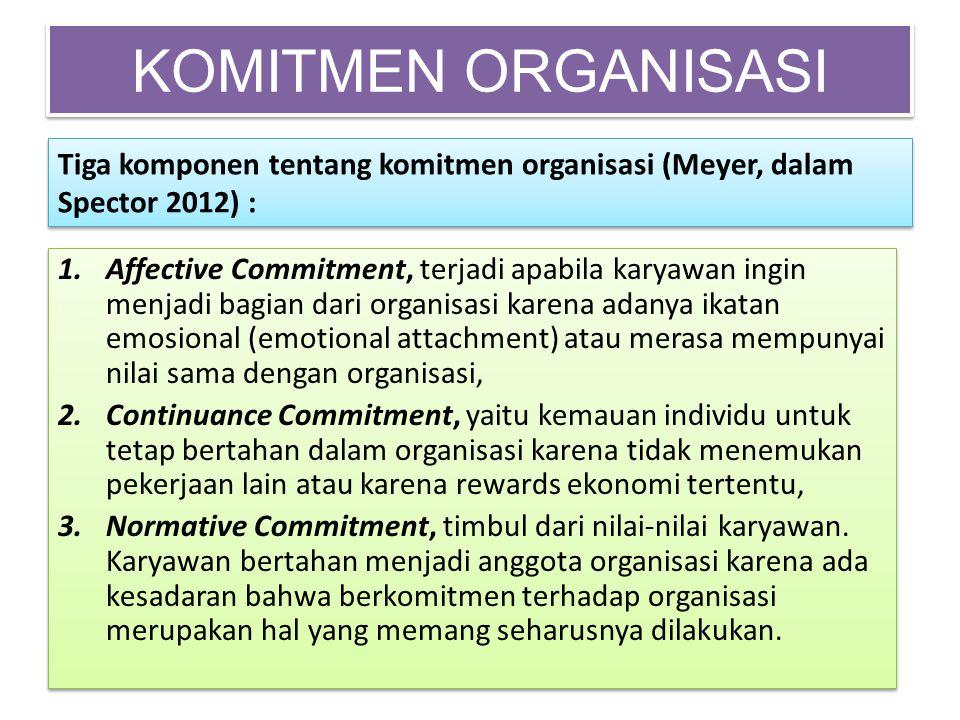 KOMITMEN ORGANISASI Tiga komponen tentang komitmen organisasi (Meyer, dalam Spector 2012) :