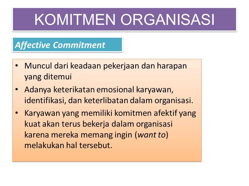 KOMITMEN ORGANISASI Affective Commitment