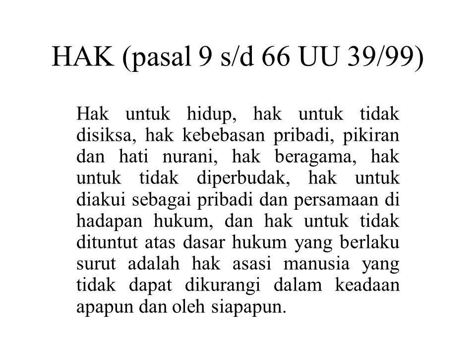 HAK (pasal 9 s/d 66 UU 39/99)