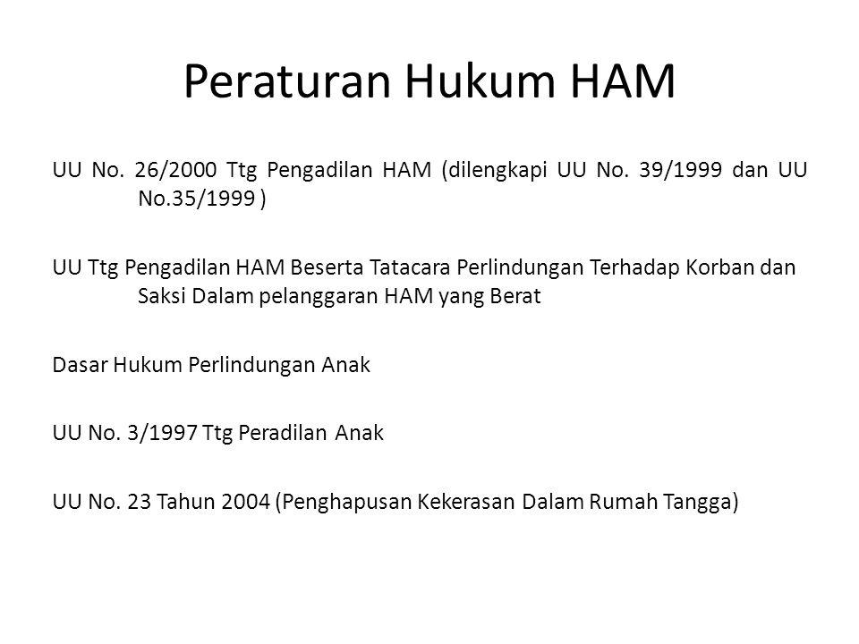 Peraturan Hukum HAM UU No. 26/2000 Ttg Pengadilan HAM (dilengkapi UU No. 39/1999 dan UU No.35/1999 )