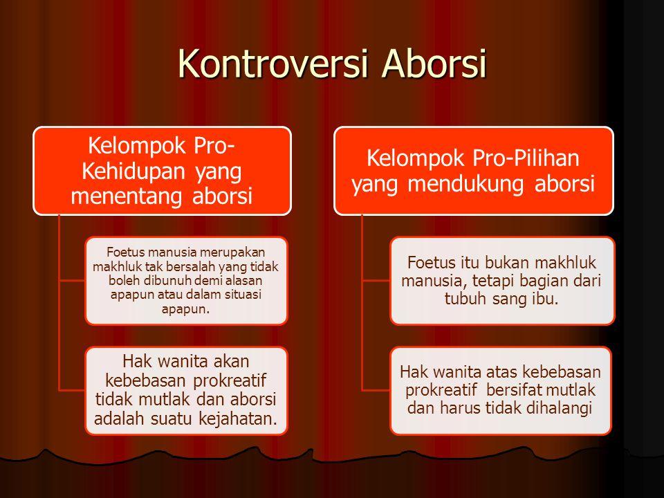 Kontroversi Aborsi Kelompok Pro-Kehidupan yang menentang aborsi.