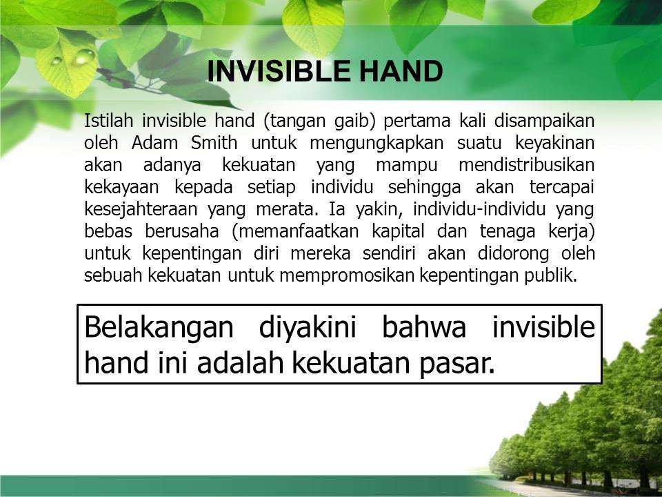 Belakangan diyakini bahwa invisible hand ini adalah kekuatan pasar.