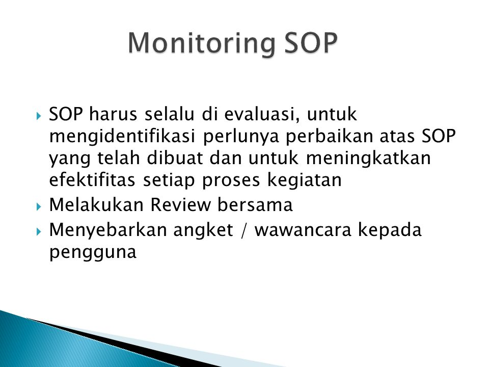 Monitoring SOP